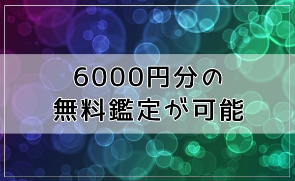 6000円分の無料鑑定が可能