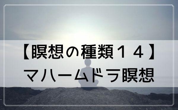 【瞑想の種類】14.マハームドラ瞑想